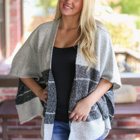 Turnabout Poncho - Grey