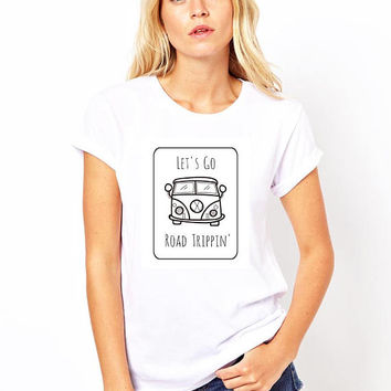 Let's go road trippin t-shirt in size s, med, large, and Xl for juniors girls and women, funny graphic shirts, tees for women, graphic shirt