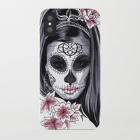 Sugar Skull Girl iPhone Case by Smyrna