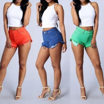 COLOR DO THE OLD DENIM SHORTS CASUAL SHORTS