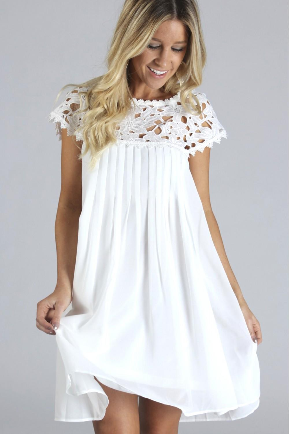 Lace Baby Doll Dress White from Sophie & Trey
