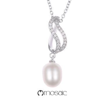 Fine Silver Cultured Pearl Drop Necklace