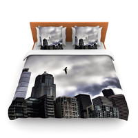 "Sylvia Cook ""Seattle Skyline"" City Clouds Fleece Duvet Cover"