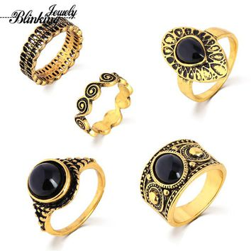 Vintage Rings 5 PCS Antique Alloy Nature Blue Stone Midi finger Ring Sets for Women Steampunk Turkish Ring Anillos Party Gift
