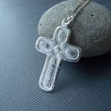 Discounted Rustic cross silver necklace - wood grain cross jewelry sterling silver necklace - hammered christian jewelry Free Shipping