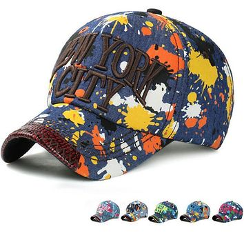 1Piece  NEW YORK CITY denim baseball cap  washed hat  cap with jointed visor cotton ink printed hat