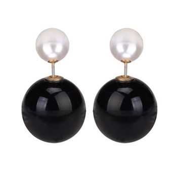 Large Pearl Double End Stud Earring -  Black & White