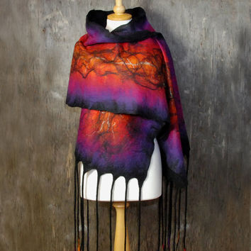 Nuno Felted scarf Felt shawl merino wool chiffon silk black pink red orange purple sunset ooak scarf  felted art winter wool scarf
