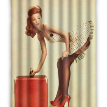 "48"" x 72"" Pin Up Girl Waterproof Bathroom Fabric Shower Curtain"