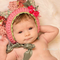 Flower Bonnet, Flower Hat, Spring Flower Hat, Pink Baby Bonnet, Photography Prop, Pink Flower, Easter, Photo Prop, Easter Bonnet, Blanket
