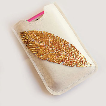 White Leather Iphone sleeve, Smartphone case, iPhone Case, case for Android,  iPhone 4s, iPhone 4,