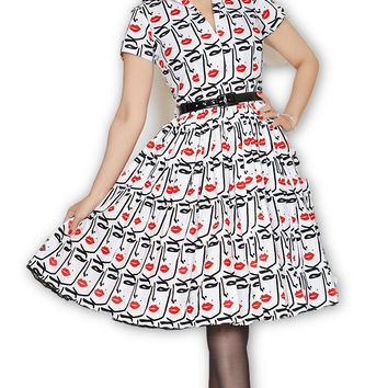 Drive In Dress in Wink Print Beauty Mark