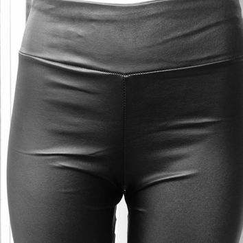 Women Leather Wet look Strech all ways Bengaline celebrity leather high waisted leggings high quality size 8-14 UK