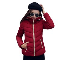 New Coats & Jackets 2017 Fashion Wine Red Parka Hooded Winter Jacket Women Winter Coat Women Zipper Down Jacket Female Coat