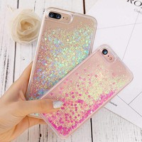 Glitter Phone Case For iPhone 8 7 6 6S Plus Bling Heart Liquid Transparent Clear Cover For iPhone 5 5S SE For iPhone8 Plus Case