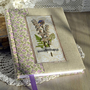 A5 notebook with fabric cover Flowers journal Notebook with dried flowers Natural flowers book Fabric covered notebook Lavender notebook