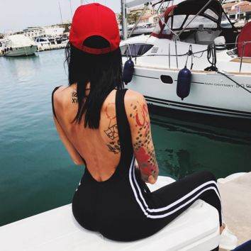 Stripe Backless Fashion Print Exercise Fitness Gym Yoga jumpsuits