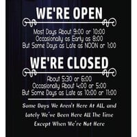 We're Open We're Closed Storefront Decal - STYLE 005
