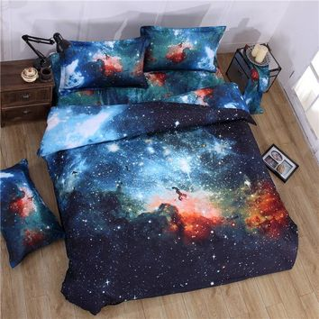 2016 3d Galaxy bedding sets Twin Queen Size Universe Outer Space Themed Bedspread 3/4pcs Bed Linen Bed Sheets Duvet Cover Set