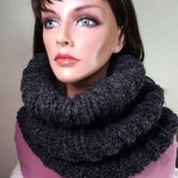 Chunky Gray Cowl - Charcoal Gray Cowl Hood Winter Fashion Accessories
