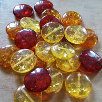 Amber Beads | Acrylic Beads | Imitation Amber | Coin Beads | Flat Round Beads | Jewelry Supplies | Bead Sale