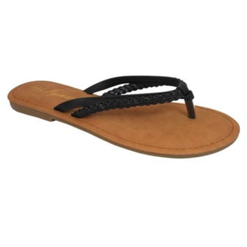 Forever Faithful Braided Classic Dual Strap Black Flops, Sandals