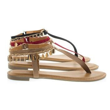 Inspire36m Camel Tap By Bamboo, Gold Metal Chain Open Toe Flat Thong Sandal w Adjustab