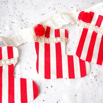 Christmas Stocking Bunting, Red & White Stripe Pom Pom Garland, Christmas Party Banner, Photo Prop, Eclectic Holiday Decoration