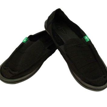 ONETOW Sanuk Shuffle Black Slip-On Shoes