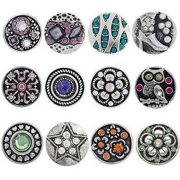 Souarts Mixed Snap Button Jewelry Charms
