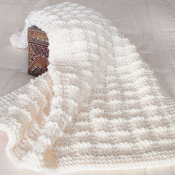 Hand Knit Baby Blanket, Chunky Knit Toddler Afghan, Ready To Ship, Cream Lap Throw Heirloom Baby Bedding Nursery Boy Girl Baby Shower Gift