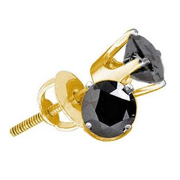 10kt Yellow Gold Unisex Round Black Color Enhanced Diamond Solitaire Stud Earrings 1/4 Cttw