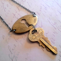 Vintage Key and Keyhole Necklace Upcycled Jewelry Brass
