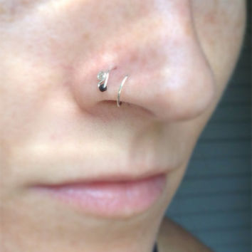 Silver Nose Ring with Black Bead 24 gauge by bijoufish on Etsy
