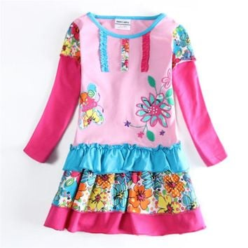 Girl dress flowers nova kids wear baby long sleeve children clothes frocks autumn/spring child wear tutu dress girl high quality