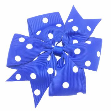 Girls 4.33 x 4.33 Inch 14 Colors Polka Dots Tail Hair Bow Clips, Barrettes