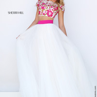 Sherri Hill 50325 Cap Sleeve Floral Crop Top Floor Length Prom Dress – Off White by Bridal Expressions