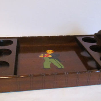 Vintage Wooden Serving Tray With Handles Wooden Butler Decorative Tray Beverage Tray