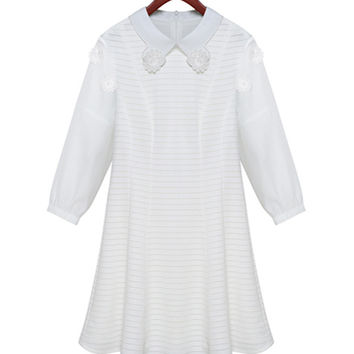 White Floral Applique Collar and Sleeve Casual Dress