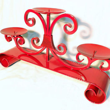 Rare Fireplace Candelabra Candle Holder French Hand Painted Red Gloss Metal Fire Place Decor Mantle Center Piece Table Setting Holiday Decor