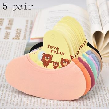 Fashion Socks 5 Pair Women Girls Socks Cotton Slippers Short Socks Ankle Socks