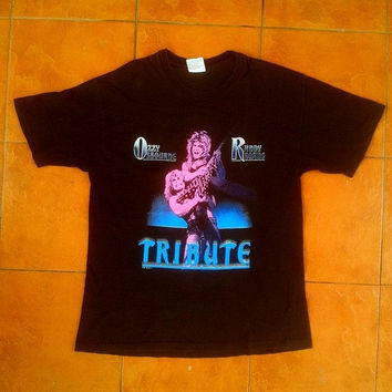 ON SALE 1980's OZZY Osbourne and Randy Rhoads Tribute Vintage Vtg Black Sabbath Heavy Metal 1987 Concert T shirt