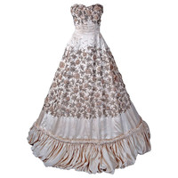 1950's Pedro Rodriguez Haute-Couture Champange Embroidered Beaded Satin Gown