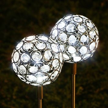 TAKEME Garden Solar Lights Outdoor,(set of 2) Solar Powered Stake Lights - LED Crystal Gazing Ball Decorative Garden Lights for Walkway,Pathway,Yard,Lawn