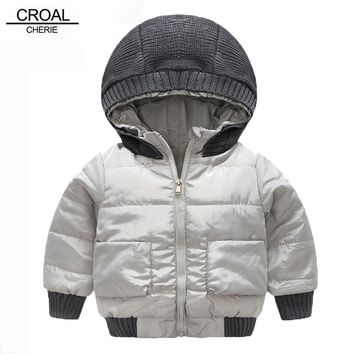 CROAL CHERIE 80-120cm Fashion Knitted Hat Children's Parka Winter Jacket For Boys Handsome Gray Coat Baby Casual Warm Clothes