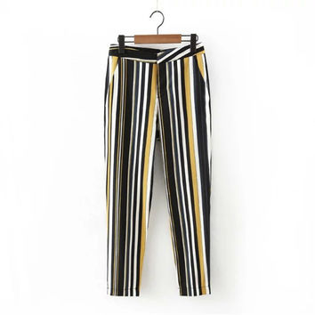 Summer Women's Fashion Stripes With Pocket Casual Pants [4920284740]