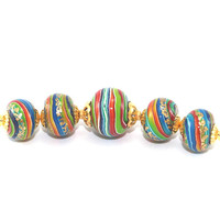 Rondelle beads for Jewelry Making, set of 5 colorful Polymer Clay beads, round pressed stripes beads, beads in rainbow colors with gold
