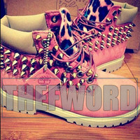 SALE! Pink Leopard timberlands