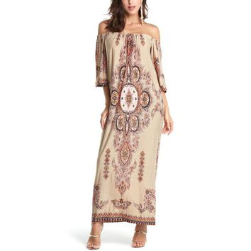 Summer 2018 Women Beach Casual Floral Dress Boho Bohemian Maxi Dress Long Loose Short Sleeve Print Fashion Vestidos Black