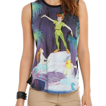 Licensed cool Disney Peter Pan on Rock Mermaids Sublimation Muscle Tank Top JRS. S-XL NEW